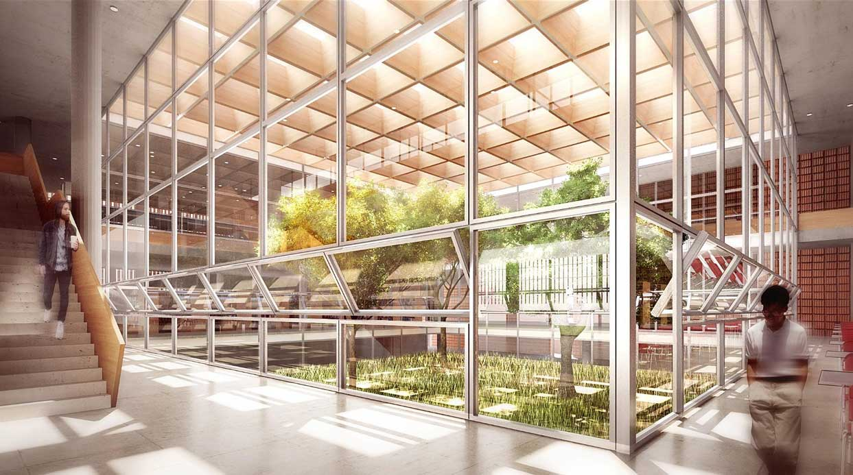 Computer Rendering of central concourse of library. Central courtyard is surrounded by glass and visible inside are a number of trees