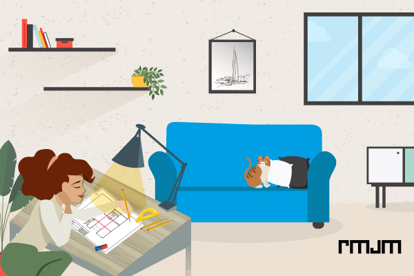 cartoon female architect drawing sketch of building at a desk with houseplants and blue sofa with cat in the background
