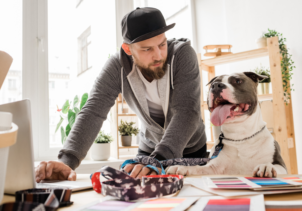 Young casual man looking at his dog while bending over workplace with laptop