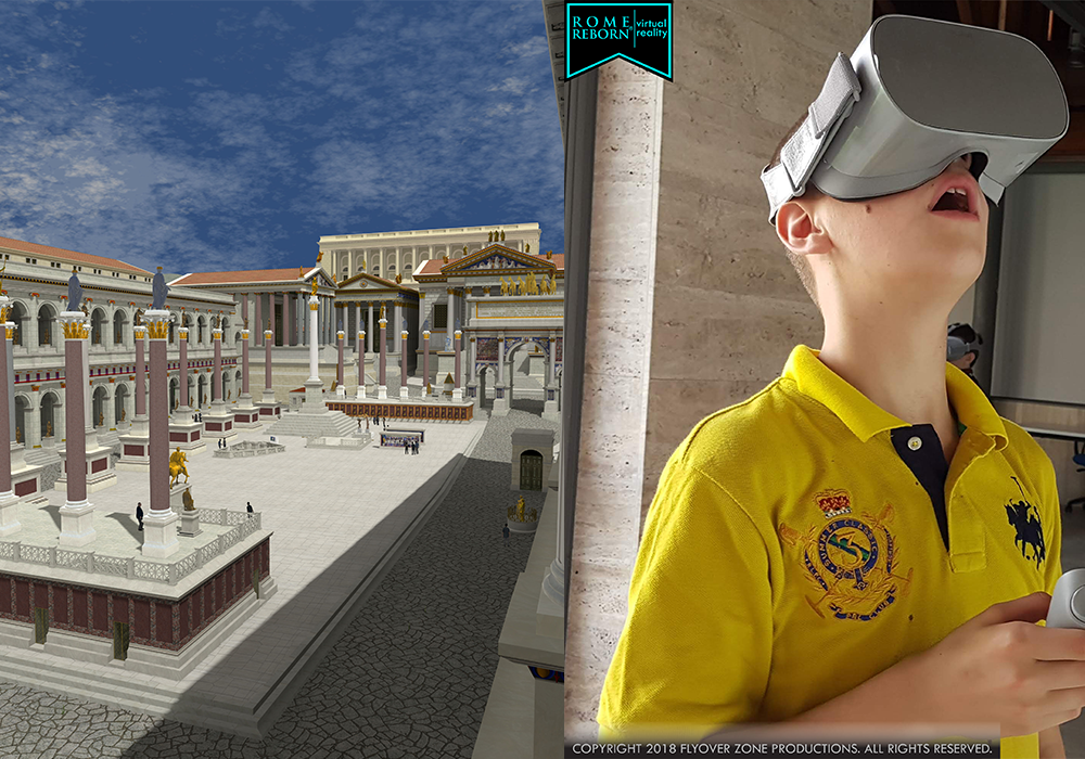 Right: Digital reconstruction of Roman Forum plaza. Left: Boy in yellow tshirt uses VR headset